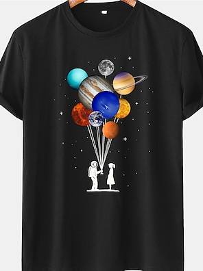 cheap For Men-Men's Unisex Tee T shirt Shirt Hot Stamping Graphic Prints Astronaut Planet Plus Size Short Sleeve Casual Tops 100% Cotton Basic Designer Big and Tall Blue Yellow Black / Summer