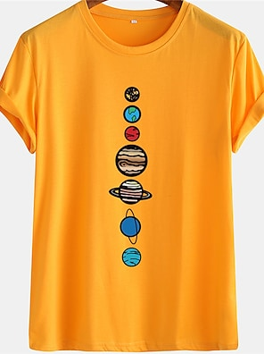 cheap For Men-Men's Unisex Tee T shirt Hot Stamping Graphic Prints Planet Human Plus Size Short Sleeve Casual Tops 100% Cotton Basic Designer Big and Tall White Black Blue