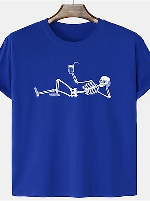 cheap For Men-Men's Unisex T shirt Shirt Hot Stamping Graphic Prints Skull Plus Size Print Short Sleeve Daily Tops 100% Cotton Basic Casual Round Neck Blue Yellow Blushing Pink / Summer