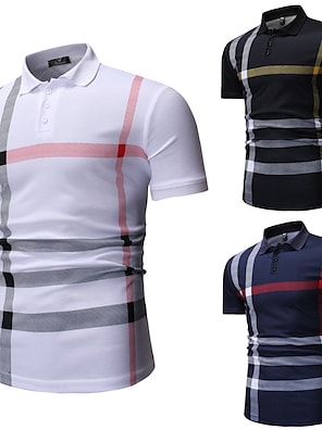 cheap Men's Polos-Men's Polo Other Prints Striped Short Sleeve Casual Tops Cotton Casual White Black Navy Blue