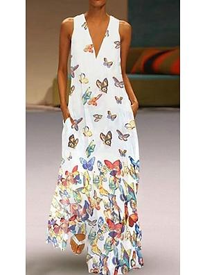 cheap Women's Dresses-Women's A Line Dress Maxi long Dress White Purple Yellow Blushing Pink Light Blue Sleeveless Butterfly Animal Print Summer Deep V Hot Casual 2021 S M L XL XXL 3XL 4XL 5XL / Plus Size