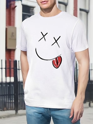 cheap For Men-Men's Tee T shirt Shirt Hot Stamping Graphic Prints Smiley Face Print Short Sleeve Casual Tops 100% Cotton Basic Designer Big and Tall Round Neck White / Summer