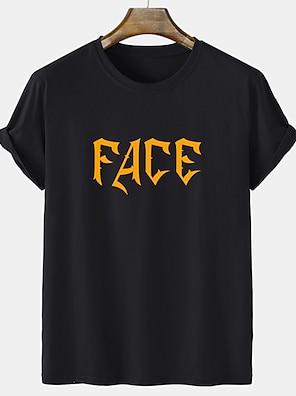 cheap For Men-Men's Unisex Tee T shirt Hot Stamping Graphic Prints Letter Short Sleeve Casual Tops 100% Cotton Basic Fashion Designer Comfortable White Black Gray
