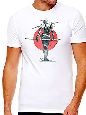 cheap For Men-Men's Unisex Tee T shirt Hot Stamping Graphic Prints Character Plus Size Print Short Sleeve Casual Tops Cotton Basic Designer Big and Tall White