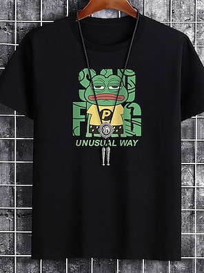cheap For Men-Men's Unisex Tee T shirt Hot Stamping Graphic Prints Frog Letter Plus Size Print Short Sleeve Casual Tops Cotton Basic Fashion Designer Big and Tall White Black Khaki