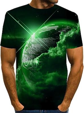 cheap Men's Tops-Men's Unisex Tee T shirt 3D Print Print Graphic Interstellar Plus Size Short Sleeve Causal Tops Vintage Novelty Round Neck Blue Purple Red