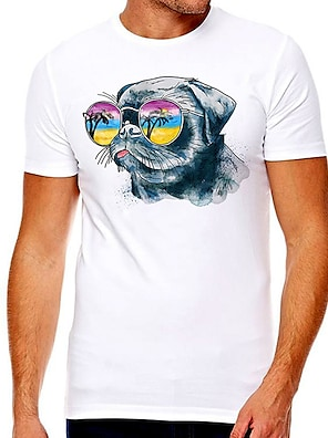 cheap For Men-Men's Unisex Tee T shirt Hot Stamping Cat Graphic Prints Plus Size Print Short Sleeve Casual Tops Cotton Basic Designer Big and Tall White
