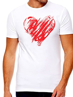 cheap For Men-Men's Unisex Tee T shirt Hot Stamping Heart Graphic Prints Plus Size Print Short Sleeve Casual Tops Cotton Basic Designer Big and Tall White