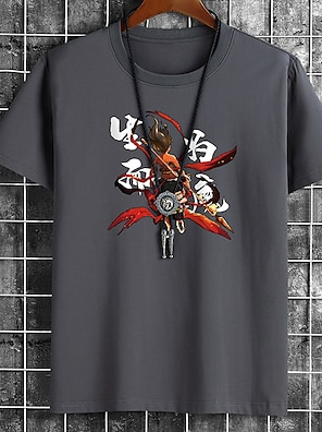 cheap For Men-Men's Unisex Tee T shirt Hot Stamping Cartoon Graphic Prints Chinese character Plus Size Print Short Sleeve Casual Tops Cotton Basic Fashion Designer Big and Tall White Black Khaki