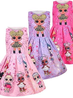 cheap Dresses-Toddler Kid's Little Girls' Dress Cartoon Graphic Prints Tank Dress Causal Pink Purple Rose Red Sleeveless Princess Cute Sweet Dresses Summer