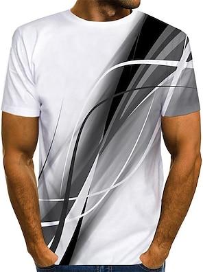 cheap Men's Tops-Men's T shirt Shirt 3D Print Graphic Print Short Sleeve Daily Tops Streetwear Round Neck Blue Red Gray