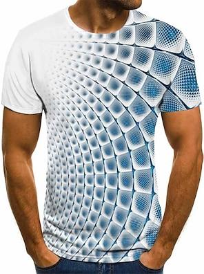 cheap Men's Tops-Men's Tee T shirt Shirt 3D Print Plaid Checkered Graphic 3D Short Sleeve Party Tops Basic Comfortable Big and Tall Round Neck Lake blue Cobalt Blue Blue