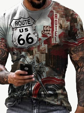 cheap Men's Tops-Men's Tee T shirt Shirt 3D Print 3D Graphic Prints Letter 66 Road Print Short Sleeve Daily Tops Casual Designer Big and Tall Round Neck Light Yellow Golden Multi color / Summer