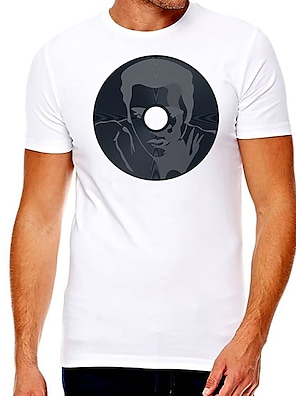 cheap For Men-Men's Unisex Tee T shirt Hot Stamping Graphic Prints Shadow Plus Size Print Short Sleeve Casual Tops Cotton Basic Fashion Designer Big and Tall White
