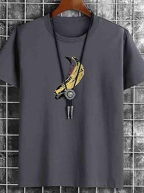 cheap For Men-Men's Unisex Tee T shirt Hot Stamping Graphic Prints Banana Fruit Plus Size Print Short Sleeve Casual Tops Cotton Basic Fashion Designer Big and Tall White Black Khaki