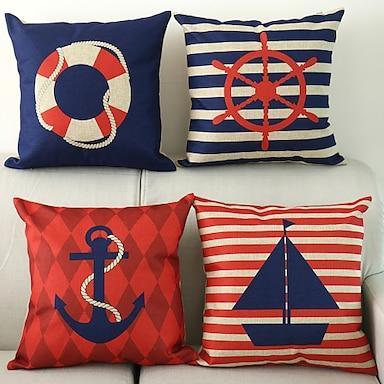 economico federe-Fodera per cuscino in cotone / finto lino da 4 pezzi, cuscino da esterno classico classico con cerniera quadrata animale per divano divano letto