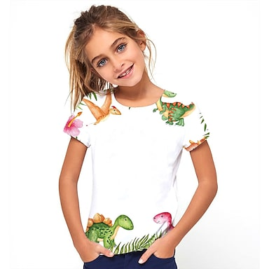 cheap Tops-Kids Girls' T shirt Tee Short Sleeve Dinosaur Animal Print White Children Tops Basic Holiday