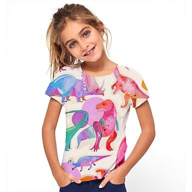 cheap Tops-Kids Girls' T shirt Tee Short Sleeve Dinosaur Animal Print Blushing Pink Children Tops Summer Basic Holiday Cool