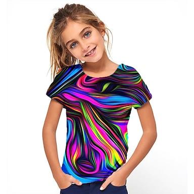 cheap Tops-Kids Girls' T shirt Tee Short Sleeve 3D Printed Graphic Optical Illusion Color Block Geometric Crewneck Deep Blue Navy Rose black Children Tops Summer Basic Fashion Streetwear Athletic Causal