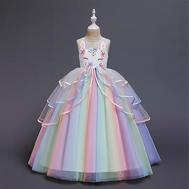 cheap Dresses-Kids Little Girls' Dress Costume Party Princess Unicorn Rainbow Flower Color Block Tulle Dress Birthday Layered Ruffled White Blushing Pink Maxi Sleeveless Princess Sweet Dresses 3-12 Years