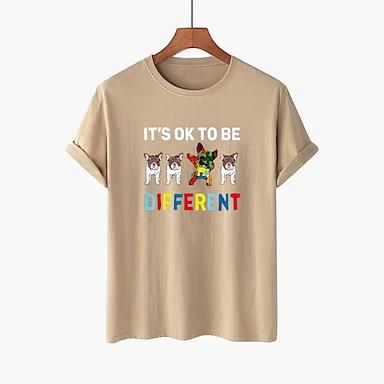 cheap For Women-Women's T shirt Dog Text Graphic Prints Round Neck Tops 100% Cotton Basic Basic Top White Black Purple
