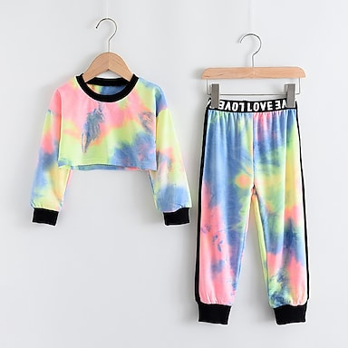 cheap Clothing Sets-Kids Girls' Clothing Set 2 Piece Long Sleeve Rainbow Print Print Daily Wear Active Short