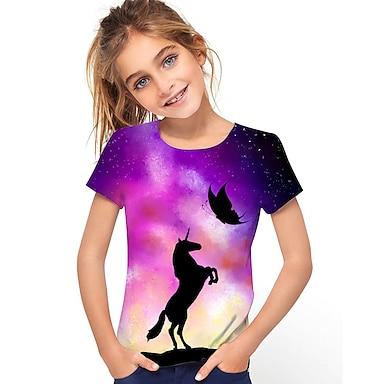 cheap Tops-Kids Girls' T shirt Tee Short Sleeve Unicorn Graphic 3D Animal Print Purple Children Tops Active Cute