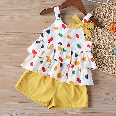 cheap Clothing Sets-Kids Toddler Girls' Clothing Set Sleeveless Red Yellow Graphic Solid Colored Bow Print Daily Wear Active Basic Short 3-8 Years