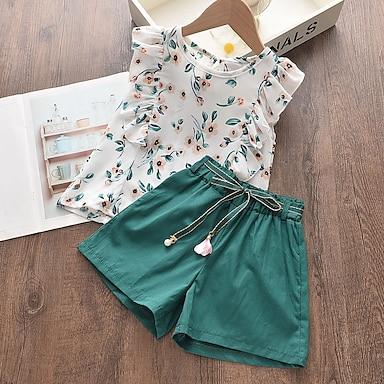 cheap Clothing Sets-Kids Girls' Clothing Set Sleeveless White Geometric Basic