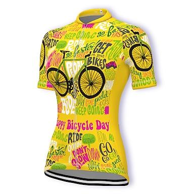 cheap Cycling Jerseys-21Grams Women's Short Sleeve Cycling Jersey Summer Spandex Polyester Dark Pink Yellow Light Green Bike Jersey Top Mountain Bike MTB Road Bike Cycling Quick Dry Moisture Wicking Breathable Sports