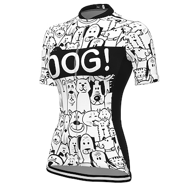 cheap Cycling Jerseys-21Grams Women's Short Sleeve Cycling Jersey Summer Spandex Polyester White Dog Bike Jersey Top Mountain Bike MTB Road Bike Cycling Quick Dry Moisture Wicking Breathable Sports Clothing Apparel