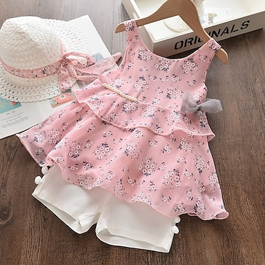 cheap Clothing Sets-Kids Girls' Clothing Set Sleeveless Yellow Blushing Pink Floral Bow Print Daily Wear Active Basic Regular