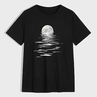 cheap For Men-Men's Unisex Tee T shirt Shirt Hot Stamping Graphic Prints Moon Plus Size Print Short Sleeve Casual Tops 100% Cotton Basic Designer Big and Tall Round Neck Black / Summer