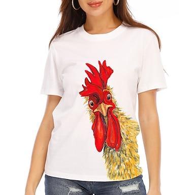 cheap For Women-Women's T shirt Graphic 3D Animal Print Round Neck Tops 100% Cotton Basic Basic Top White Black