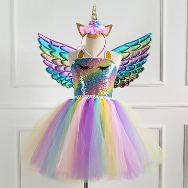 cheap Dresses-Kids Little Girls' Dress 3pcs Unicorn Princess Rainbow Colorful Party Tutu Birthday Dresses With Wing and Headband Sequins Halter Purple Gold Silver Cute Dresses 2-8 Years