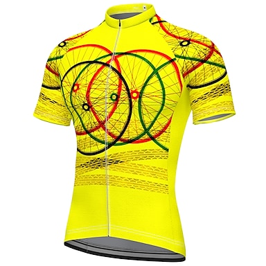 cheap Cycling Jerseys-21Grams Men's Short Sleeve Cycling Jersey Summer Spandex Polyester Blue Yellow Blushing Pink Bike Jersey Top Mountain Bike MTB Road Bike Cycling Quick Dry Moisture Wicking Breathable Sports Clothing