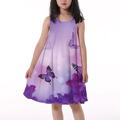 cheap Dresses-Kids Little Girls' Dress Butterfly Floral Animal Tank Dress Print Purple Knee-length Sleeveless Flower Active Dresses Regular Fit 5-12 Years