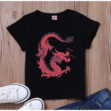 cheap For Kids-Kids Boys' T shirt Tee Short Sleeve Dragon 3D Print Graphic White Black Children Tops Summer Basic Daily Wear