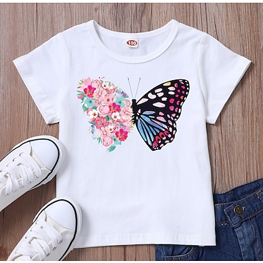 abordables Para niños-Niños Chica Camiseta Manga Corta Gráfico Blanco Negro Niños Tops Verano Básico Ropa Cotidiana