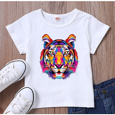 cheap For Kids-Kids Boys' T shirt Tee Short Sleeve 3D Print Graphic Tiger White Black Children Tops Summer Basic Daily Wear