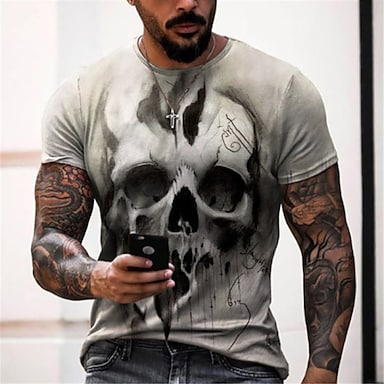 cheap NEW IN-Men's Tee T shirt Shirt 3D Print Graphic Prints Skull Print Short Sleeve Daily Tops Casual Designer Big and Tall Round Neck Black Gold Black and Blue Black and Yellow / Summer