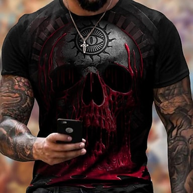 cheap NEW IN-Men's Tee T shirt Shirt 3D Print Graphic Skull Plus Size Short Sleeve Casual Tops Basic Designer Slim Fit Big and Tall Red Black Green