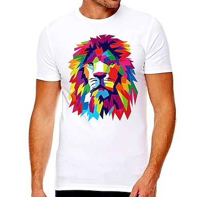 cheap For Men-Men's Unisex Tee T shirt Hot Stamping Graphic Prints Lion Plus Size Print Short Sleeve Casual Tops Cotton Basic Designer Big and Tall White