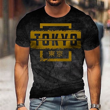 cheap NEW IN-Men's Unisex Tee T shirt Shirt 3D Print Graphic Prints Letter Print Short Sleeve Daily Tops Casual Designer Big and Tall Black