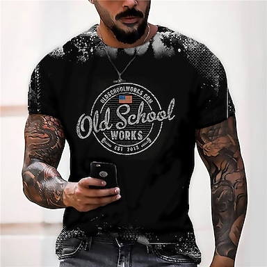 cheap NEW IN-Men's Unisex Tee T shirt Shirt 3D Print Graphic Prints National Flag Letter Print Short Sleeve Daily Tops Casual Designer Big and Tall Black