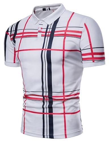 cheap Men's Clothing-Men's Polo Striped Plaid Plus Size Print Short Sleeve Daily Tops Basic Shirt Collar White Navy Blue Gray / Summer