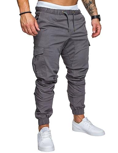 cheap Basic Shorts & Pants-Hiking Pants Men's Basic Plus Size Daily wfh Sweatpants / Cargo Pants - Solid Colored Spring Fall Navy Blue Khaki Light gray XXL XXXL XXXXL