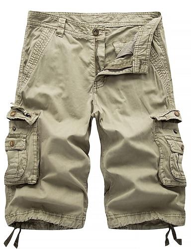abordables Vêtements Homme-Homme Chic de Rue Militaire Sortie Chino Short Pantalon cargo Pantalon Couleur Pleine Longueur genou Noir Bleu Rouge Kaki Vert