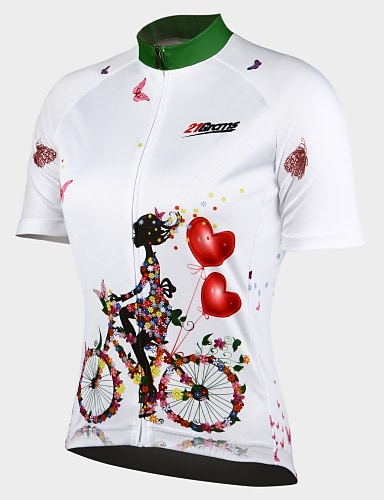 cheap Sports & Outdoors-21Grams Folwer Cycling Girl Women's Short Sleeve Cycling Jersey Summer White Purple Blue Bike Jersey Ultraviolet Resistant Quick Dry Breathable Back Pocket Sports Patterned Mountain Bike