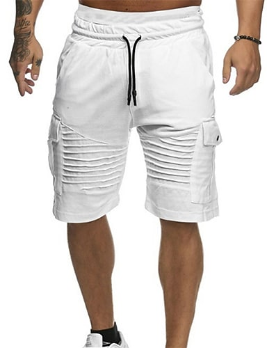 cheap Basic Shorts & Pants-Men's  Shorts Basic Daily Casual Half Trousers Pants Solid Colored Drawstring White Red Green